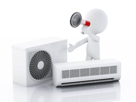 power supply unit: 3d image. White people with air conditioner. Summer concept. Isolated white background