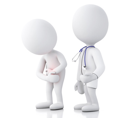 bowel cancer: 3d white people doctor with stethoscope checking people with stomach ache in red zone. Isolated white background
