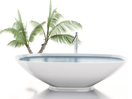 3d illustration. Bathtub with palm tree. Summer concept. Isolated white background