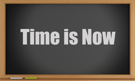 3d image. Time is now on blackboard background. Time concept photo