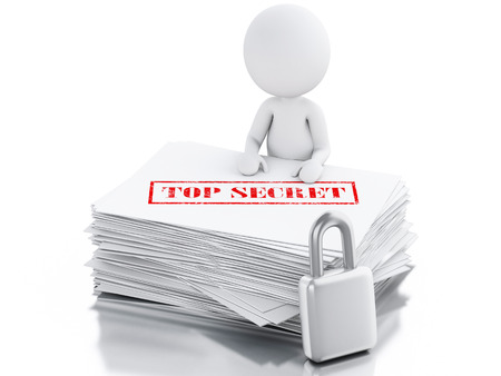 3d render. White people with secret Paper sheets. Isolated white background photo