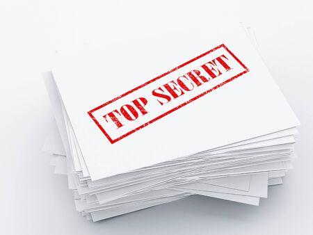 secret archive Paper sheets on white background. 3d render illustration. illustration