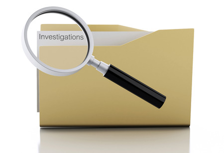examine: 3d image. Magnifying glass examine investigations in folder. Isolated white background