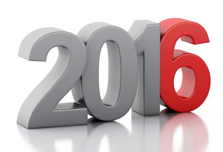 next day: 3d render image. New Year 2016 isolated on white background. Stock Photo