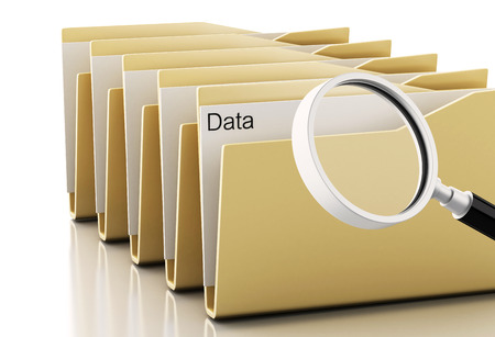 3d render image. Magnifying glass examines computers files Isolated white background photo