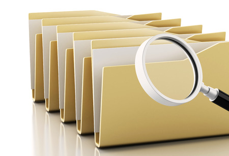 3d renderer image. Magnifying glass examines computers files. Isolated white background