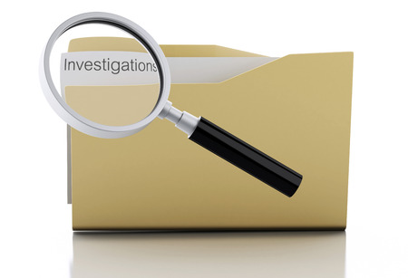 investigations: 3d image. Magnifying glass examine investigations in folder Isolated white background Stock Photo