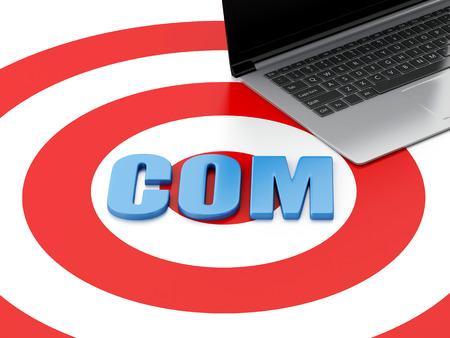 gov: 3d renderer image. Domain concept. Laptop pc and word COM on target