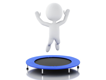 trampoline: 3d renderer image. White people, happy jumping for the success in trampoline. Isolated white background