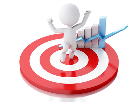 success man: 3d renderer image. White people with business statistic graph in red target. Success concept. Isolated white background Stock Photo