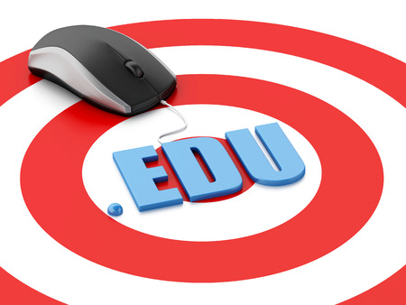 edu: 3d renderer image. Domain concept. Computer mouse and word EDU on target