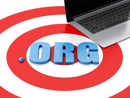 gov: 3d renderer image. Domain concept. Laptop pc and word ORG on target