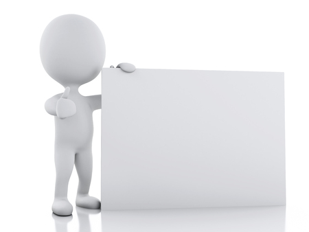 sign board: 3d renderer image. White person with blank board, Isolated over white background