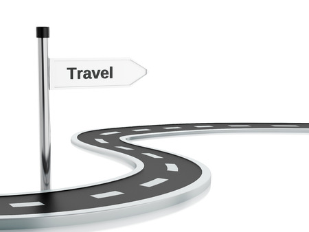 curved road: 3d renderer illustration of curved road and travel road sign. Isolated white background Stock Photo