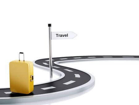 3d renderer illustration of curved road with travel suitcase and travel road sign. Isolated white background