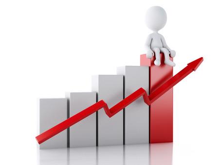 3 d レンダラーのイメージ。統計グラフの白いビジネス人々。成功のコンセプトです。孤立した白い背景