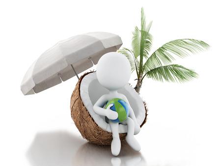 Witte mensen zitten in een kokosnoot. Stockfoto