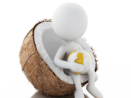holidays vacancy: 3d renderer image. White people sitting in a coconut. Beach vacation concept. Isolated white background