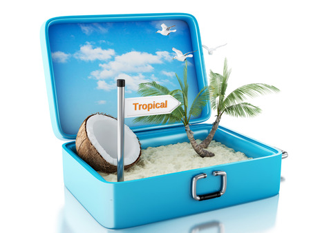 Paradise beach in travel suitcase.