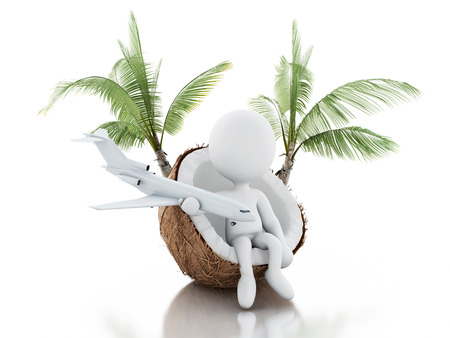 holidays vacancy:  White people sitting in a coconut.