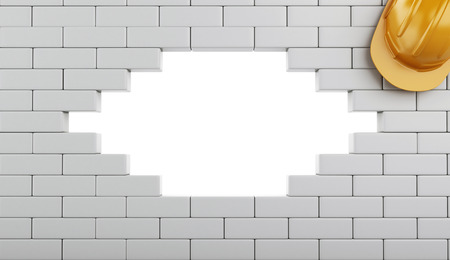 3d renderer image. Broken Brick Wall with Helmet, isolated on white background. Construction concept. Stock Photo
