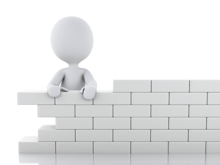 3d renderer image. White people building a brick wall. Isolated white background