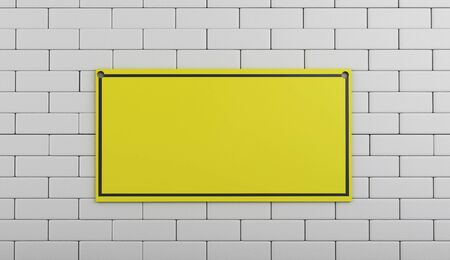under construction sign: 3d renderer image. Under construction sign on brick wall.