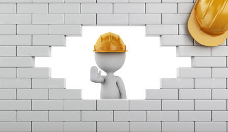 raze: 3d renderer image. Broken Brick Wall with white people, Isolated on white. Construction concept.
