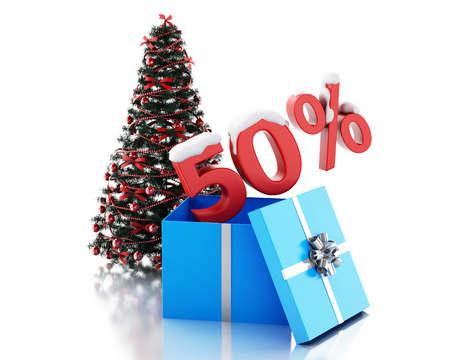 christmas bonus: 3d renderer image. Present box with 50 percent text and christmas tree. Christmas sale concept. Isolated white background