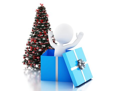 christmas present: 3d renderer image. White people inside a gift box and Christmas tree. Isolated white background
