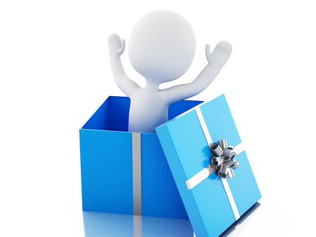 christmas present: 3d renderer image. White people inside a gift box. Isolated white background