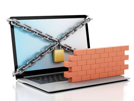 global security: 3d renderer image. Laptop with lock, chain and brick wall. Firewall concept. Isolated white background Stock Photo