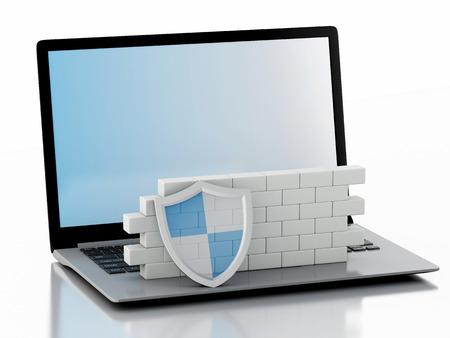 elementos de protecci�n personal: Imagen de render 3d. Ordenador port�til con pared de ladrillo. Concepto del cortafuego. Fondo blanco aislado