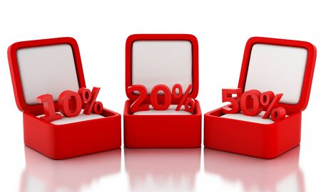 discount: 3d renderer image. Gift box with percent discount sign. Concept of discount. Isolated white background Stock Photo