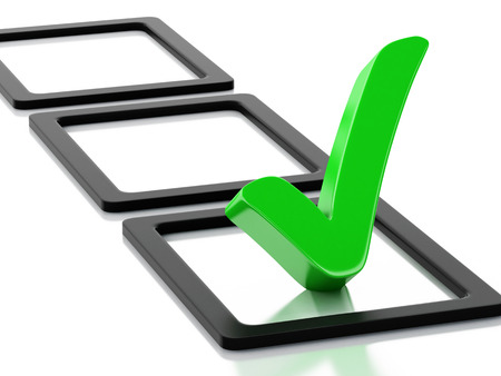 3d renderer image. Checklist with green check mark. Isolated white background
