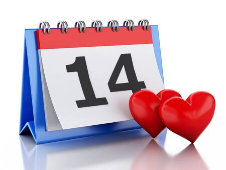february 14: 3d renderer image. Valentines Day, February 14 in calendar. Isolated white background