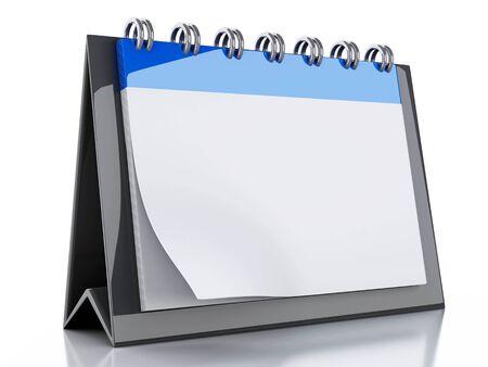calendar background: 3d renderer image. Blank calendar on isolated white background