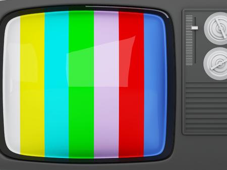 no signal: 3d renderer image. Retro tv -colorful no signal background