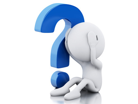 3d renderer image. White people need help with question mark. Isolated white background Stock fotó