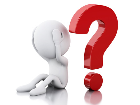 interrogative: 3d renderer image. White people need help with question mark. Isolated white background Stock Photo