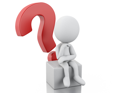 interrogative: Imagen de render 3d. Los blancos piensan con un signo de interrogaci�n rojo. Fondo blanco aislado