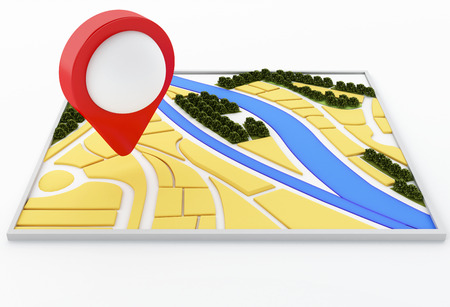 3d renderer image. Navigator map and pointer marker on city. GPS satellite navigation concept. Isolated white background