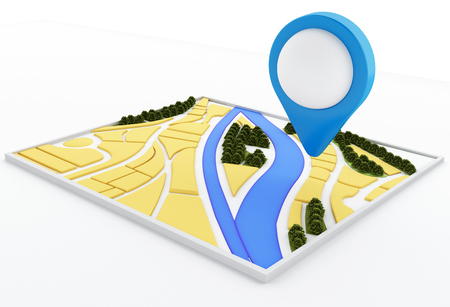 satellite navigation: 3d renderer image. Navigator map and pointer marker on city. GPS satellite navigation concept. Isolated white background Stock Photo