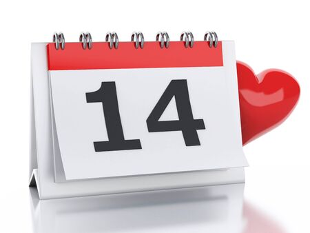 calendar isolated: 3d renderer image. Valentines Day, February 14 in calendar. Isolated white background