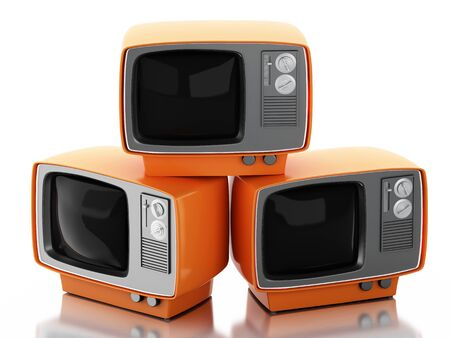 tv screen: 3d renderer image. Stack of retro tv set. Vintage television concept. Isolated white background