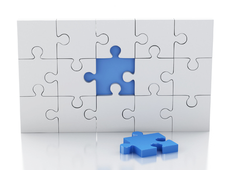 3d renderer image. Jigsaw Puzzle. Business creativity and success concept. Isolated white background
