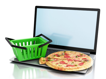 out of order: 3d renderer image. Laptop and food. Online and Internet food delivery concept on white background