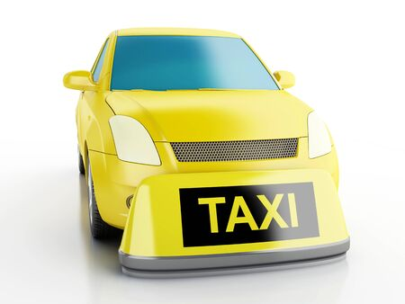 chequerboard: 3d renderer image. Yellow taxi car. Isolated white background Stock Photo