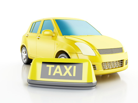 3d renderer image. Yellow taxi car. Isolated white background Stock Photo