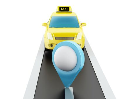 chequerboard: 3d renderer image. Taxi car on the road, and map pointer. Isolated white background